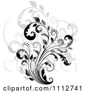 Clipart Black Floral Scroll Over Gray Royalty Free Vector Illustration by Vector Tradition SM