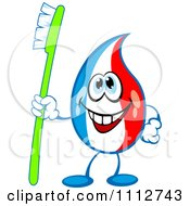 Clipart Happy Tri Colored Toothpaste Mascot Holding A Brush Royalty Free Vector Illustration