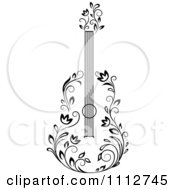 Clipart Black And White Floral Guitar 3 Royalty Free Vector Illustration