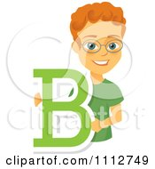 Clipart Happy Red Haired School Boy Holding A Letter B Royalty Free Vector Illustration