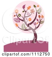Clipart Fall Tree With Autumn Leaves On A Purple Hill Royalty Free Vector Illustration