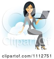 Clipart Beautiful Asian Businesswoman Holding A Laptop On A Cloud Royalty Free Vector Illustration