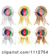 Clipart Silver Gold And Bronze Azerbaijan Flag Medals Royalty Free Vector Illustration