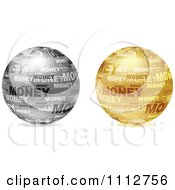 3d Silver And Golden Money Collage Globes