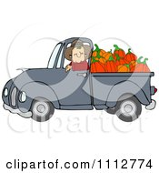 Clipart Cowboy Pumpkin Farmer Driving A Load In His Pickup Truck Royalty Free Vector Illustration
