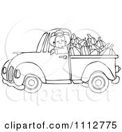 Clipart Outlined Cowboy Pumpkin Farmer Driving A Load In His Pickup Truck Royalty Free Vector Illustration