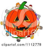 Clipart Diverse Kids Holding Hands Around A Carved Jackolantern Halloween Pumpkin Royalty Free Vector Illustration