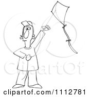 Outlined Guy Flying A Kite