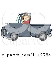 Clipart Cowboy Driving A Blue Pickup Truck Royalty Free Vector Illustration