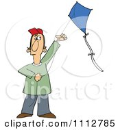 Clipart Guy Flying A Kite Royalty Free Vector Illustration