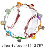 Clipart Diverse Kids Holding Hands Around A Baseball Royalty Free Vector Illustration by djart