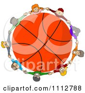 Diverse Kids Holding Hands Around A Basketball