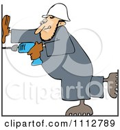 Clipart Construction Worker Man Using A Power Drill Royalty Free Vector Illustration
