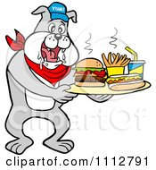 Clipart Bbq Bulldog Mascot Drooling Over A Tray With A Hot Dog Burger Fries And Soda Royalty Free Vector Illustration