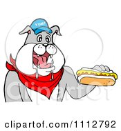Clipart Bbq Bulldog Mascot Drooling Over A Hot Dog With Mustard Royalty Free Vector Illustration by LaffToon