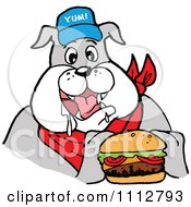 Clipart Bbq Bulldog Mascot Drooling Over A Cheeseburger Royalty Free Vector Illustration