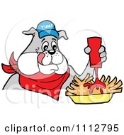 Clipart Bbq Bulldog Mascot Squirting Ketchup On French Fries Royalty Free Vector Illustration by LaffToon