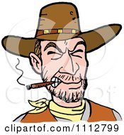 Clipart Western Cowboy Smoking A Cigar 1 Royalty Free Vector Illustration by LaffToon