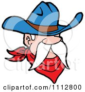 Clipart Western Cowboy With A Long White Mustache Royalty Free Vector Illustration by LaffToon