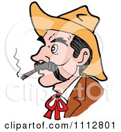 Clipart Western Cowboy Smoking A Cigar 2 Royalty Free Vector Illustration