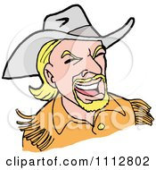 Clipart Blond Western Cowboy Laughing Royalty Free Vector Illustration by LaffToon