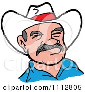 Clipart Western Cowboy With An Intimidating Expression Royalty Free Vector Illustration by LaffToon
