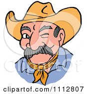 Clipart Winking Cowboy Royalty Free Vector Illustration by LaffToon