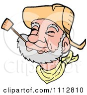 Clipart Western Cowboy Smoking A Pipe Royalty Free Vector Illustration by LaffToon
