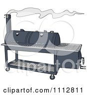 Clipart Double Smoker BBQ Royalty Free Vector Illustration by LaffToon #COLLC1112811-0065