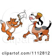 Clipart Fox Holding Up A White Flag And Flirting With A Female Blood Hound Dog Royalty Free Vector Illustration by LaffToon