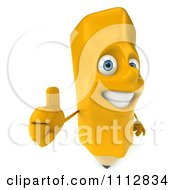Clipart 3d Yellow Pencil Holding A Thumb Up 2 Royalty Free CGI Illustration