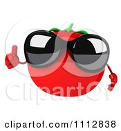 3d Tomato Wearing Sunglasses And Holding A Thumb Up