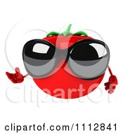 Clipart 3d Tomato Wearing Sunglasses And Presenting Royalty Free CGI Illustration
