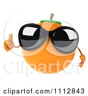 3d Orange Wearing Sunglasses And Holding A Thumb Up