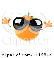 3d Orange Wearing Sunglasses And Jumping
