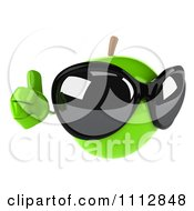 3d Green Apple Wearing Sunglasses And Holding A Thumb Up