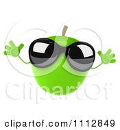 Clipart 3d Green Apple Wearing Sunglasses And Jumping Royalty Free CGI Illustration