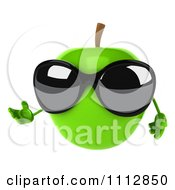 Clipart 3d Green Apple Wearing Sunglasses And Presenting Royalty Free CGI Illustration