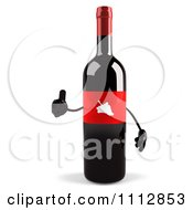 Clipart 3d Red Labeled Wine Bottle Holding A Thumb Up Royalty Free CGI Illustration