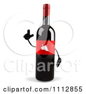 Clipart 3d Blue Labeled Wine Bottle With An Idea Royalty Free CGI Illustration