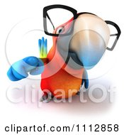 Clipart 3d Macaw Parrot Wearing Eye Glasses And Pointing Outwards Royalty Free CGI Illustration by Julos