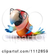 Clipart 3d Macaw Parrot Wearing Eye Glasses And Shrugging Royalty Free CGI Illustration