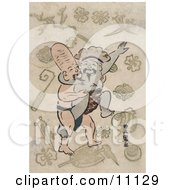 Two Of The Seven Lucky Gods Daikoku And And Fukurokuju Sumo Wrestling Clipart Picture by JVPD