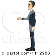 Clipart Mitt Romney Facing Left And Ready For A Handshake Royalty Free Vector Illustration