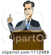 Clipart Mitt Romney Speaking At A Podium Royalty Free Vector Illustration by Cartoon Solutions