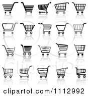 Black And White Checkout Shopping Cart Icons With Reflections