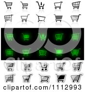Black Green And Silver Checkout Shopping Cart Icons With Reflections