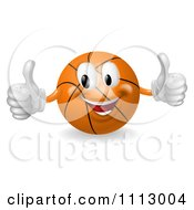 Clipart 3d Happy Basketball Mascot Holding Two Thumbs Up Royalty Free Vector Illustration