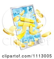Clipart 3d Smart Phone With Yuan And Coins Bursting From The Screen Royalty Free Vector Illustration by AtStockIllustration