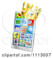 Clipart 3d Crown On A Smart Phone With App Icons On The Screen Royalty Free Vector Illustration